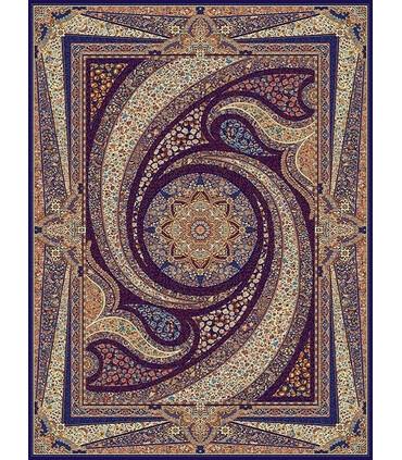 فرش مشهد طرح 702068 سورمه ای