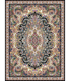 فرش مشهد طرح 702070 سورمه ای