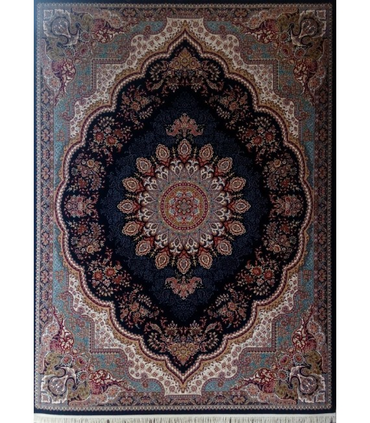 فرش ماشینی زمرد مشهد طرح 25012 سورمه ای