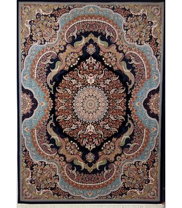 فرش ماشینی زمرد مشهد طرح 25014 سورمه ای