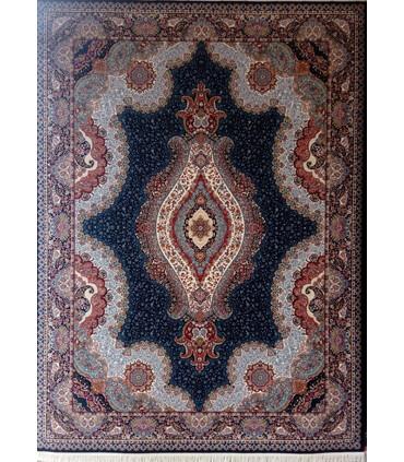 فرش ماشینی زمرد مشهد طرح 25018 سورمه ای