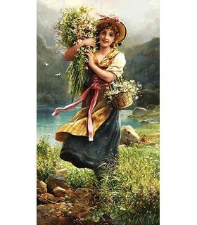 تابلوفرش دستباف طرح فرانسوی گل فروش