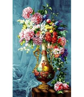 تابلوفرش دستباف طرح گلدان فرانسوی