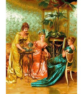 نخ و نقشه تابلو فرش طرح فرانسوی چای عصرانه