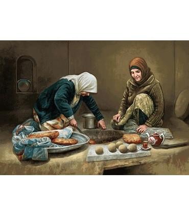 نخ و نقشه تابلو فرش ایرانی کد-27 زنان نان پز