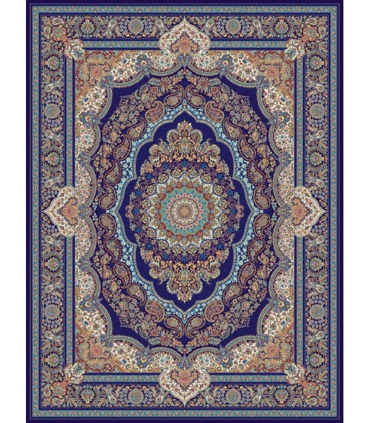 فرش ماشینی مشهد طرح 708008 سورمه ای
