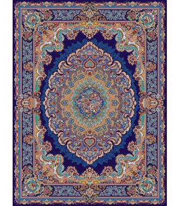 فرش ماشینی مشهد طرح 708009 سورمه ای