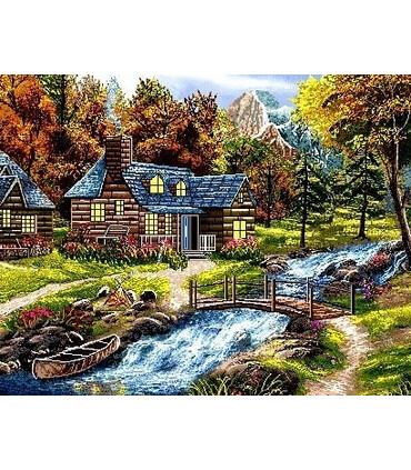 نخ و نقشه تابلو فرش طبیعت کد 34 طرح پل چوبی