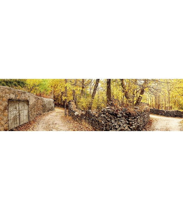 نخ و نقشه تابلو فرش طبیعت کد 35 طرح کوچه باغ سنگی