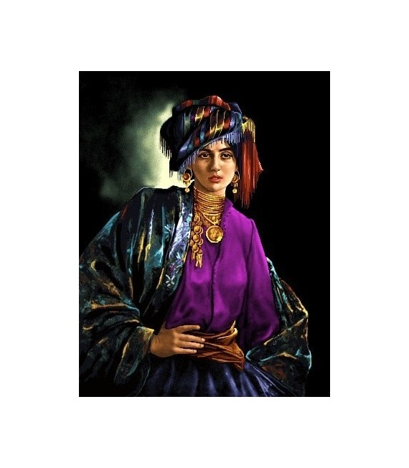 نخ و نقشه تابلو فرش ایرانی کد-38 دختر کرد