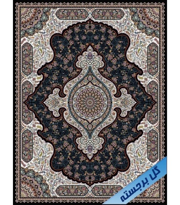فرش ماشینی نگین مشهد طرح 1209 سورمه ای گل برجسته