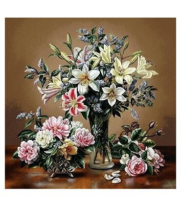 نخ و نقشه تابلو فرش گل کد 25 طرح گلدان شیشه ای