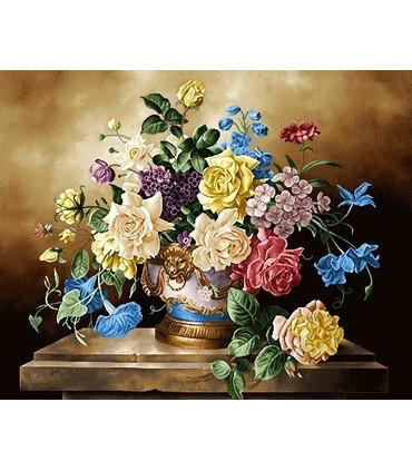 نخ و نقشه تابلو فرش گل کد 28 طرح گلدان طلایی