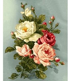 نخ و نقشه تابلو فرش طرح رزهای زیبا