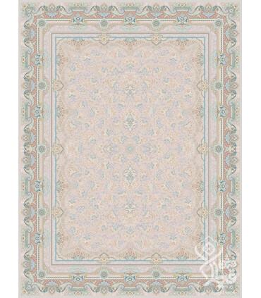 فرش ماشینی قیطران طرح گوهر کرم گل برجسته