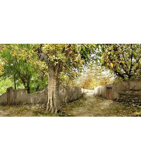 نخ و نقشه تابلو فرش طرح کد-39 تک درخت در کوچه باغ