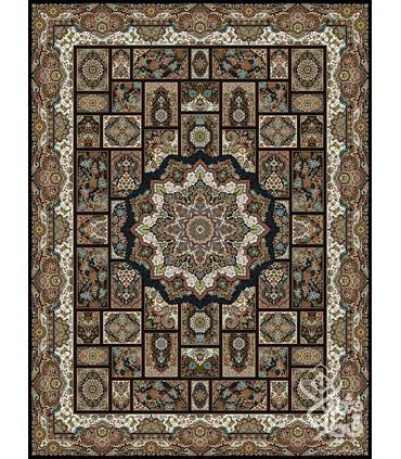 فرش ماشینی قیطران طرح نازنین سورمه ای