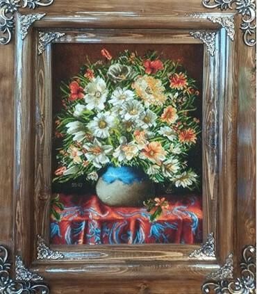 تابلوفرش دستباف طرح گلدان گل و رومیزی ملکی