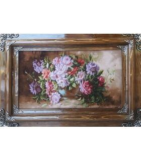 تابلوفرش دستباف طرح گلدان گل رز عرضی ثاقب (گل 78)
