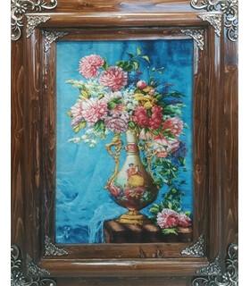 تابلوفرش دستباف طرح گلدان گل عروس و داماد (گل 58)
