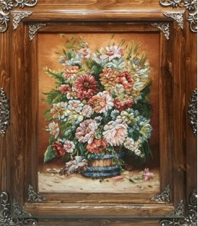 تابلوفرش دستباف طرح سطل گل دلاویز