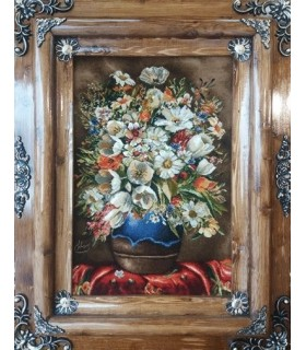 تابلوفرش دستباف طرح گلدان گل و رومیزی بهلولی