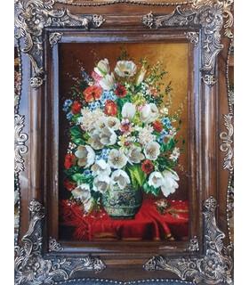 تابلوفرش دستباف طرح گلدان گل قدی و رومیزی