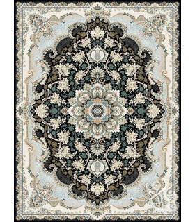 فرش ماشینی قیطران طرح آناهیتا سورمه ای گل برجسته
