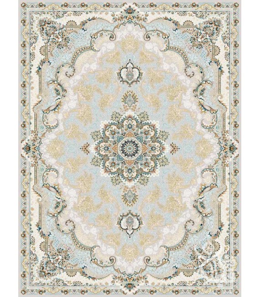 فرش ماشینی قیطران طرح آناهیتا نسکافه ای گل برجسته