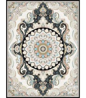 فرش ماشینی قیطران طرح پریوش سورمه ای گل برجسته