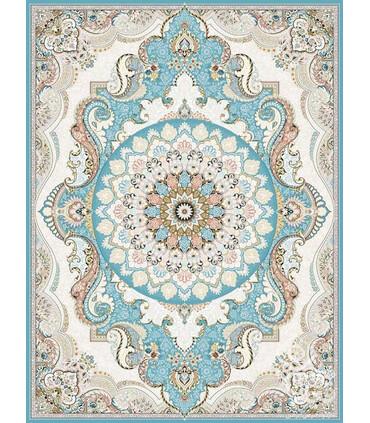 فرش ماشینی قیطران طرح پریوش آبی گل برجسته
