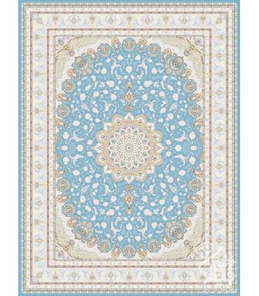 فرش ماشینی قیطران طرح نگار آبی گل برجسته