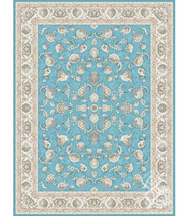 فرش ماشینی قیطران طرح فیلا آبی گل برجسته