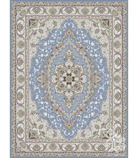 فرش ماشینی قیطران طرح آبنوس آبی نقره ای گل برجسته