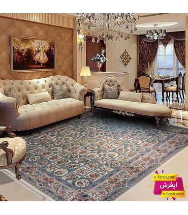 فرش ماشینی نگین مشهد طرح 1212 کرم گل برجسته