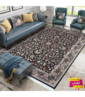 فرش ماشینی زمرد مشهد طرح 36016 سورمه ای