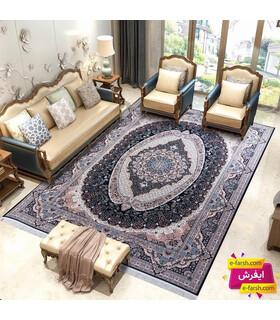 فرش ماشینی زمرد مشهد طرح 22003 سورمه ای