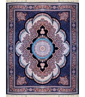فرش ماشینی کاشان طرح آرشیدا سورمه ای