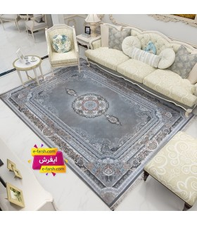 فرش ماشینی نگین مشهد طرح 1220 طوسی گل برجسته