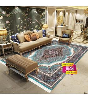 فرش مشهد طرح 87120 آبی