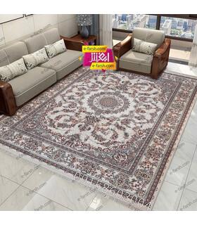 فرش ماشینی نگین مشهد طرح 1010 کرم حاشیه کرم