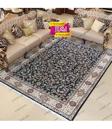 فرش ماشینی مشهد طرح 802012 سورمه ای