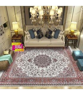 فرش ماشینی زمرد مشهد طرح 14003 کرم