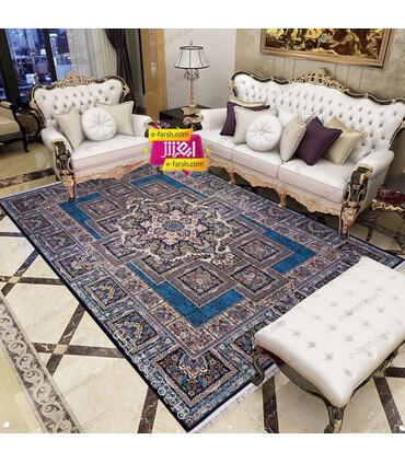فرش ماشینی زمرد مشهد طرح 22000 سورمه ای گل برجسته
