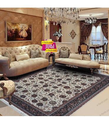 فرش ماشینی زمرد مشهد طرح 25010 کرم با حاشیه سورمه ای
