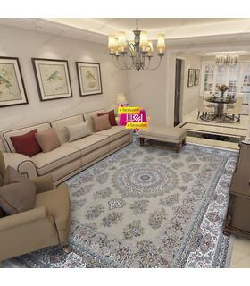 فرش ماشینی زمرد مشهد طرح 45002 نسکافه ای