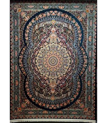 فرش ماشینی زمرد مشهد طرح 36001 سورمه ای
