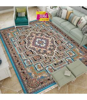 فرش مشهد طرح 802040 آبی