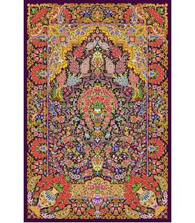 نخ و نقشه فرش تمام ابریشم کد 17 سورمه ای