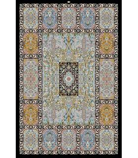 نخ و نقشه فرش تمام ابریشم کد 24